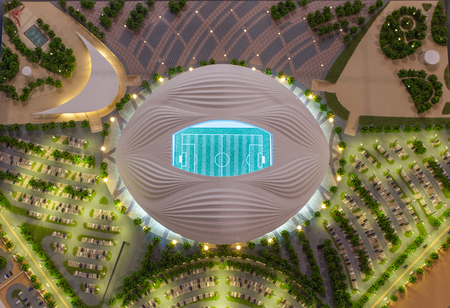 December 4, 2017 Moscow, Russia. The mock-up of the Al Wakrah Stadium at which the matches of the FIFA World Cup 2022 in Qatar will be held. Editorial