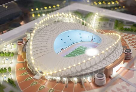 December 4, 2017 Moscow, Russia. The mock-up of the Khalifa International Stadium at which the matches of the FIFA World Cup 2022 in Qatar will be held. Editorial