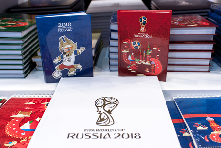 14 December 2017 Moscow, Russia, Symbols of the World Cup 2018 in the official store.