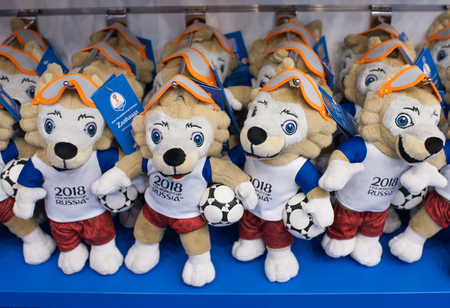 December 14, 2017 Moscow, Russia, Soft toys in the form of the official mascot of the 2018 FIFA World Cup Zabivaka wolf in the official store. Editorial
