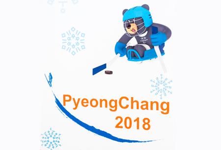 14 december 2017 Moskou, Rusland Symbolen XII Paralympische Winterspelen in Pyeongchang, Republiek Korea