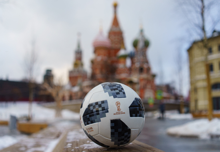 January 22, 2018. Moscow, Russia. The official ball of the FIFA World Cup 2018 Adidas Telstar 18 . 에디토리얼