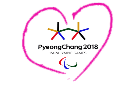 14 December 2017 Moscow, Russia Symbols XII Winter Paralympic Games in Pyeongchang, Republic of Korea in the pink heart heart