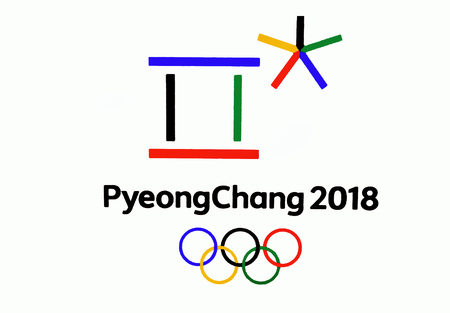 14 December 2017 Moscow, Russia Symbols XXIII Winter Olympic Games in Pyeongchang, Republic of Korea 에디토리얼