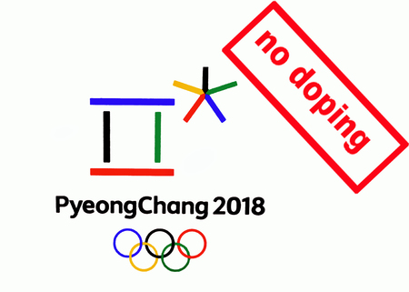 14 December 2017 Moscow, Russia Symbols XXIII Winter Olympic Games in Pyeongchang, Republic of Korea and the inscription no doping