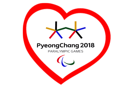 14 December 2017 Moscow, Russia Symbols XII Winter Paralympic Games in Pyeongchang, Republic of Korea in the red heart