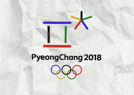 14 December 2017 Moscow, Russia Symbols XXIII Winter Olympic Games in Pyeongchang, Republic of Korea on a sheet of crumpled paper 에디토리얼