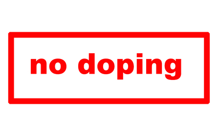 Caption No Doping on a sheet of white paper