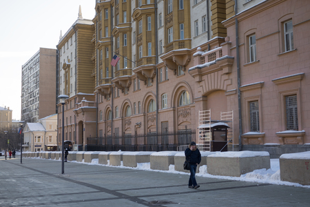 February 13, 2018 Moscow, Russia. The building of the Embassy of the United States of America in Moscow. Editorial
