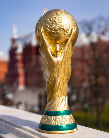 April 16, 2018 Moscow. Russia Trophy of the FIFA World Cup on the Red Square in Moscow. Editorial