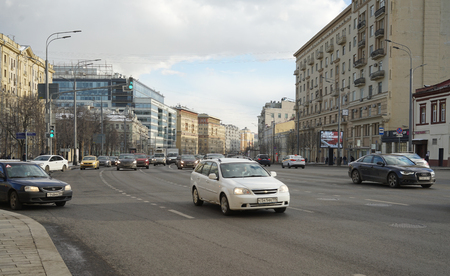28 March 2018, Moscow, Russia. Car traffic on the Garden ring in Moscow.