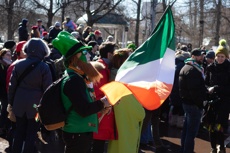 24 March 2018 Moscow, Russia Participants in the celebration of St. Patricks Day in Moscow.