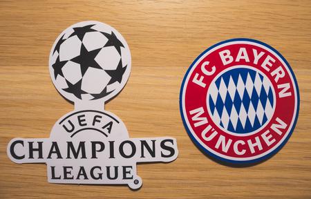 15 December 2018. Nyon Switzerland. The logo of the football club Bayern Munich and UEFA Champions League.
