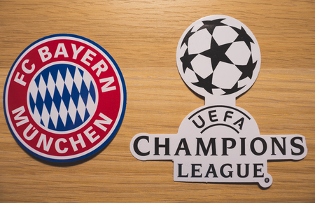 15 December 2018. Nyon Switzerland. The logo of the football club Bayern Munich and UEFA Champions League. Editorial