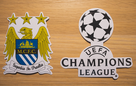 15 December 2018. Nyon Switzerland. The logo of the football club Manchester City F.C. and UEFA Champions League.