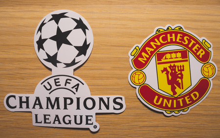 15 December 2018. Nyon Switzerland. The logo of the football club Manchester United F.C. and UEFA Champions League.