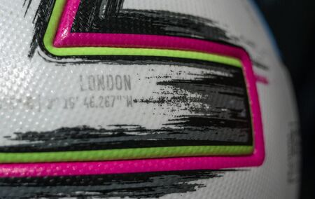10 November 2019 London, United Kingdom. The inscription London on the official ball of the European football championship in 2020 Adidas Uniforia Competition.