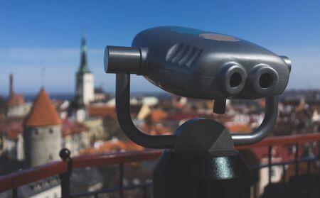 tourist binoscope on the observation deck in Tallinn Stockfoto