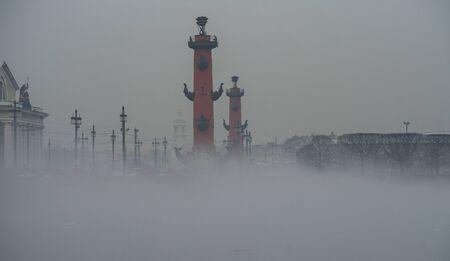 Fog over the Neva river in St. Petersburg.