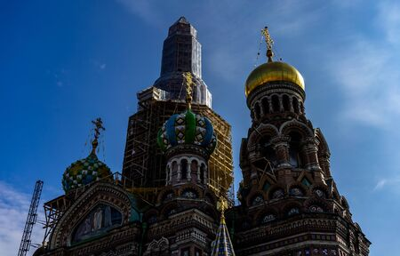 April 18, 2018. St. Petersburg, Russia. The Church of the Savior on Spilled Blood during the restoration. Redactioneel