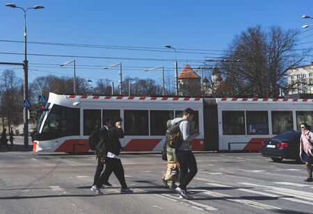 20 April 2019 Tallinn, Estonia. Low-floor tram on one of the streets of the city.