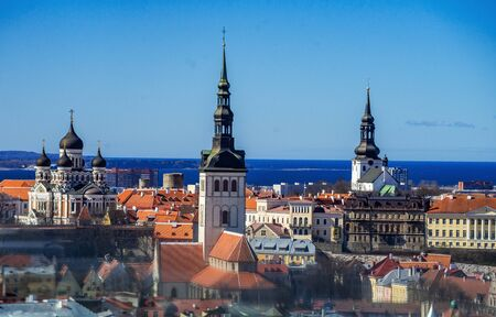 21 April 2018 Tallinn, Estonia. View of the Old town from the observation deck