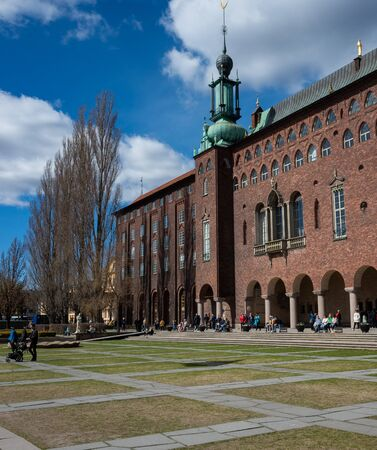 April 22, 2018. Stockholm, Sweden. View of the Stockholm City Hall in clear weather.