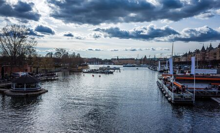 April 22, 2018, Stockholm, Sweden. Marina for yachts and catamarans in the center of Stockholm.