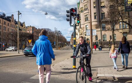 April 22, 2018, Stockholm, Sweden. Cyclists on one of the streets in Stockholm.