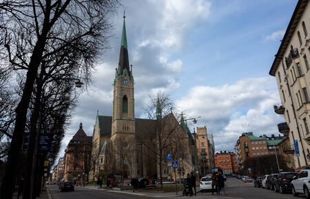 April 22, 2018, Stockholm, Sweden. Passers-by on one of the streets in Stockholm. Redactioneel
