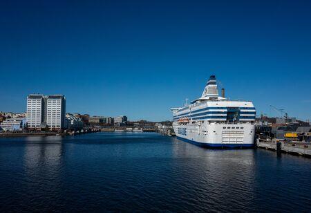22 April 2019, Stockholm, Sweden. High-speed passenger and car ferry of the Estonian shipping concern Tallink Silja Europa in the port Vartahamnen in Stockholm. Redactioneel