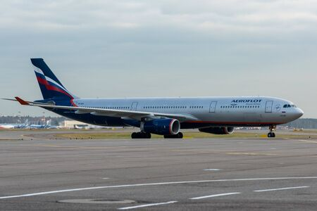 October 29, 2019, Moscow, Russia. Plane  Airbus A330-300 Aeroflot - Russian Airlines at Sheremetyevo airport in Moscow.