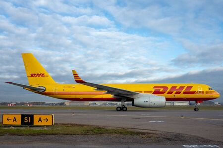 October 29, 2019, Moscow, Russia. Plane  Tupolev Tu-204 Aviastar Airlines in livery DHL at Sheremetyevo airport in Moscow.