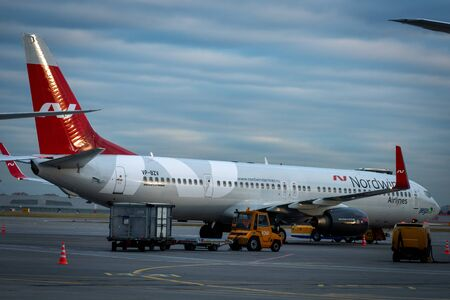 October 29, 2019, Moscow, Russia. Plane  Boeing 737-900ER Nordwind Airlines at Sheremetyevo airport in Moscow.