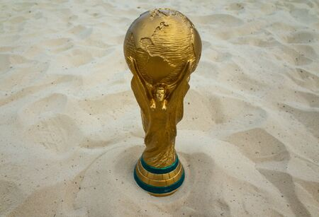 May 30, 2019. Doha, Qatar. FIFA World Cup trophy on sand. FIFA World Cup  2022  will be held in Qatar.