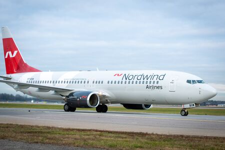 October 29, 2019, Moscow, Russia. Plane Boeing 737-800 Nordwind Airlines at Sheremetyevo airport in Moscow.