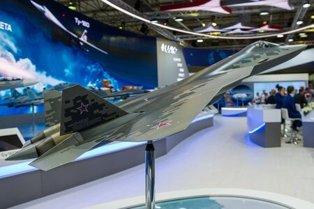 August 30, 2019. Zhukovsky, Russia. layout of the fifth-generation promising Russian multi-functional fighter Sukhoi Su-57  at the International Aviation and Space Salon MAKS 2019.