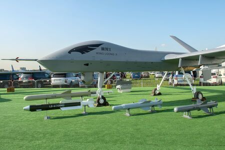 August 30, 2019. Zhukovsky, Russia. Chinese drone reconnaissance drone CAIG Wing Loong 2 at the International Aviation and Space Salon MAKS 2019. 免版税图像 - 140920061
