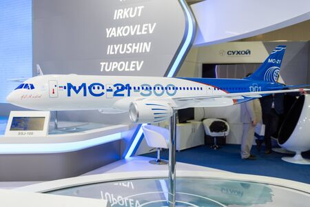 August 30, 2019. Zhukovsky, Russia. Layout of a promising Russian medium-range narrow-body passenger aircraft Irkut MC-21 at the International Aviation and Space Salon MAKS 2019.