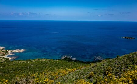 Green mountainous coast of the Mediterranean Sea on the Akamas Peninsula in the northwest of the island of Cyprus.