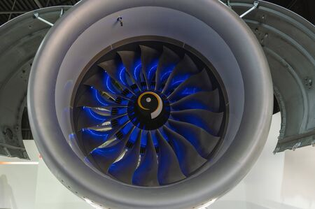 Fan of a civil turbofan aircraft engine in the exhibition hall.