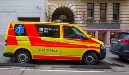 April 24, 2018, Riga, Latvia. Ambulance car on a street in Riga. Redactioneel