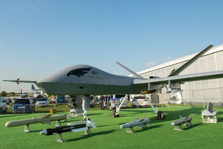 August 30, 2019. Zhukovsky, Russia. Chinese drone reconnaissance drone CAIG Wing Loong 2 at the International Aviation and Space Salon MAKS 2019. 新闻类图片