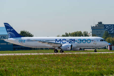 August 30, 2019. Zhukovsky, Russia. Promising Russian medium-range narrow-body passenger aircraft Irkut MC-21 at the International Aviation and Space Salon MAKS 2019.