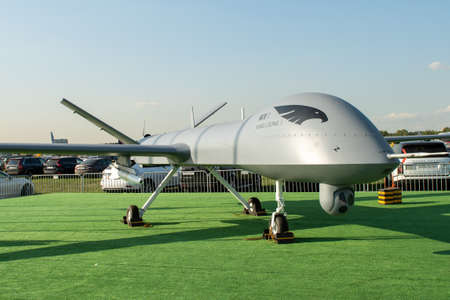 August 30, 2019. Zhukovsky, Russia. Chinese drone reconnaissance drone CAIG Wing Loong 1 at the International Aviation and Space Salon MAKS 2019.
