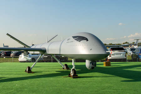 August 30, 2019. Zhukovsky, Russia. Chinese drone reconnaissance drone CAIG Wing Loong 1 at the International Aviation and Space Salon MAKS 2019. 免版税图像 - 146810134
