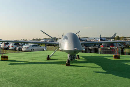 August 30, 2019. Zhukovsky, Russia. Chinese drone reconnaissance drone CAIG Wing Loong 1 at the International Aviation and Space Salon MAKS 2019. 免版税图像 - 146810140