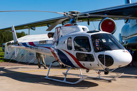 August 30, 2019. Zhukovsky, Russia. french multirole helicopter Eurocopter AS350 Ecureuil at the International Aviation and Space Salon MAKS 2019.