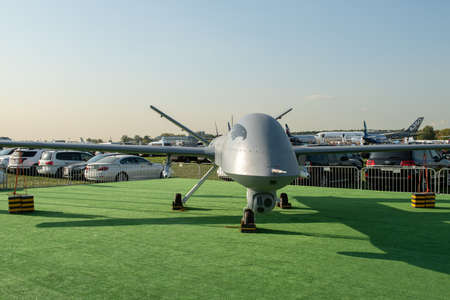 August 30, 2019. Zhukovsky, Russia. Chinese drone reconnaissance drone CAIG Wing Loong 1 at the International Aviation and Space Salon MAKS 2019. 免版税图像 - 147759605