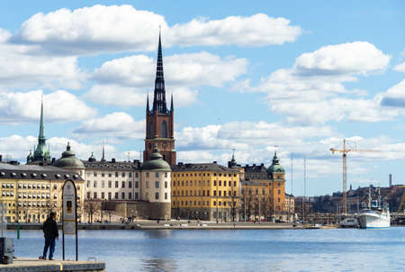April 22, 2018. Stockholm, Sweden. Panorama of the historic center of Stockholm in clear weather.